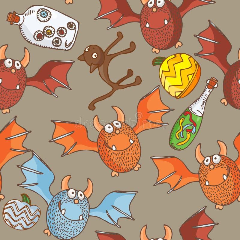 Modèle sans couture de vecteur de Halloween avec des chats, chauves-souris, potirons illustration de vecteur