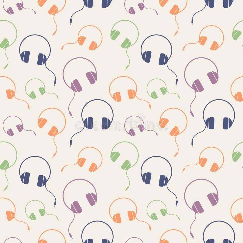 Modèle sans couture de vecteur de musique, fond chaotique avec les écouteurs colorés illustration de vecteur
