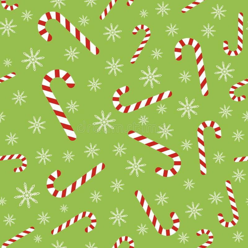 Modèle sans couture de vecteur de Noël avec des cannes et des flocons de neige de sucrerie illustration libre de droits