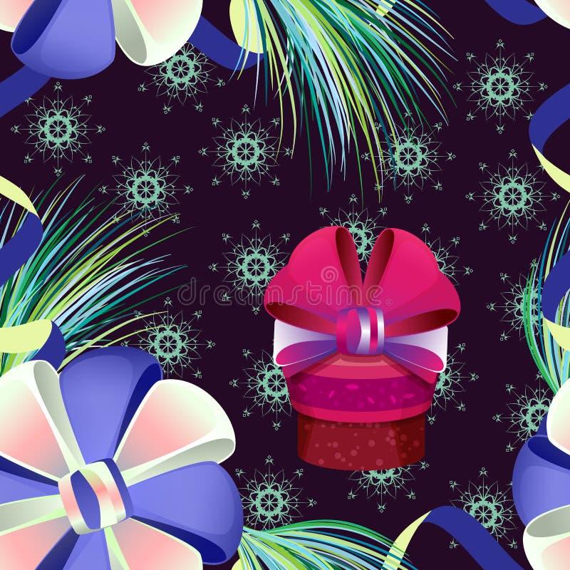 Modèle sans couture de vecteur de Noël avec le cadeau illustration de vecteur