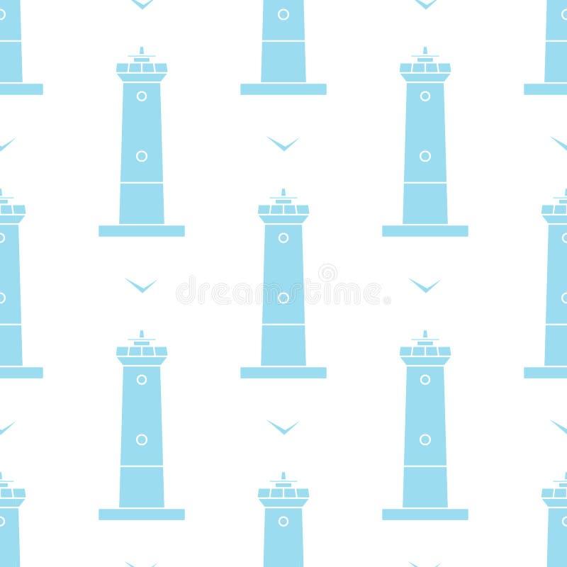 Modèle sans couture de vecteur de phare et de mouettes dans le style marin illustration stock