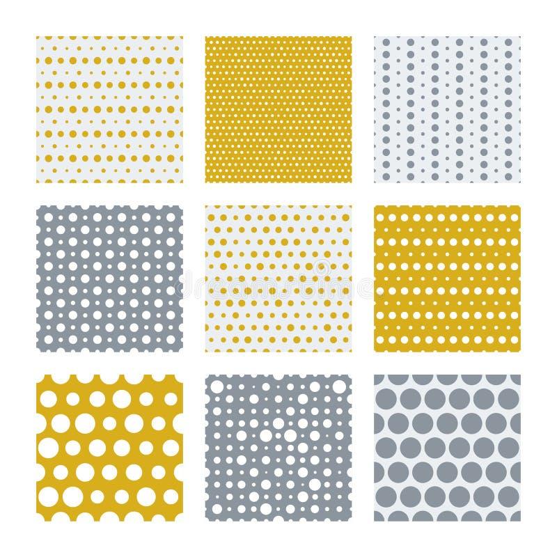 Modèle sans couture de vecteur de points d'or et d'argent illustration stock