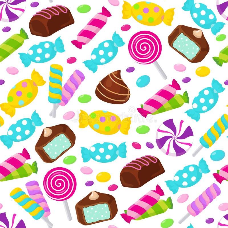 Modèle sans couture de vecteur de sucrerie de caramel de lucette Fond sans fin assorti de bonbons illustration de vecteur