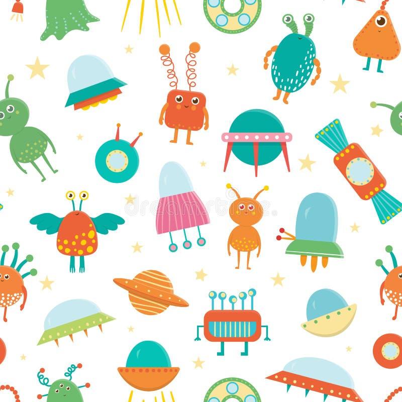 Modèle sans couture de vecteur des étrangers mignons, UFO, soucoupe volante pour des enfants illustration de vecteur