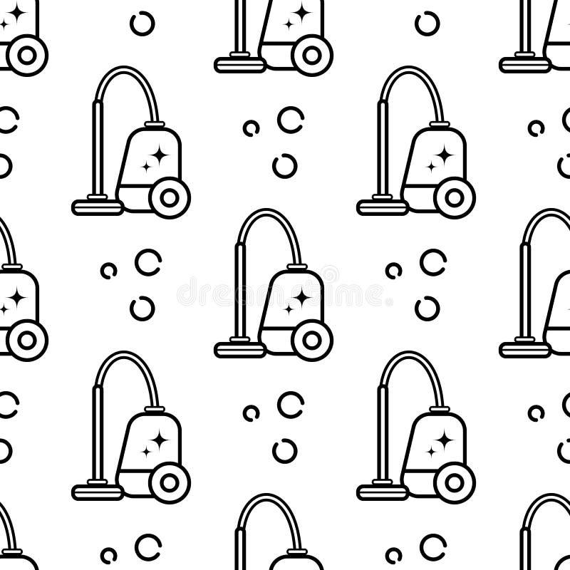 Modèle sans couture de vecteur des accessoires pour nettoyer la maison Art linéaire plat sur un fond blanc Ornement pour le papie images libres de droits