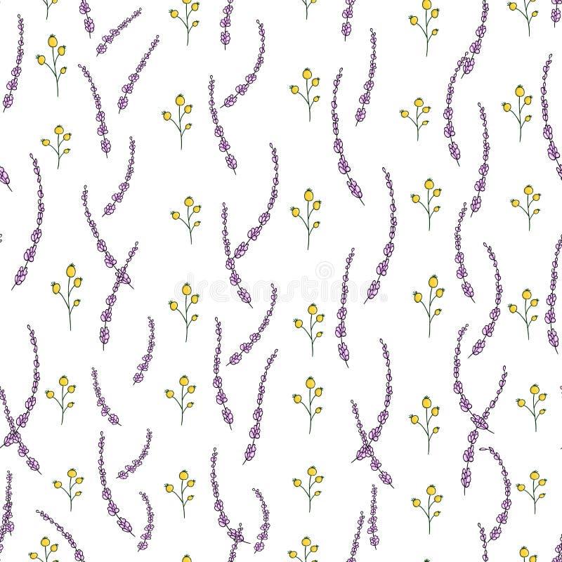 Modèle sans couture de vecteur des fleurs et des herbes de jardin Fond tiré par la main de répétition de style de bande dessi illustration stock