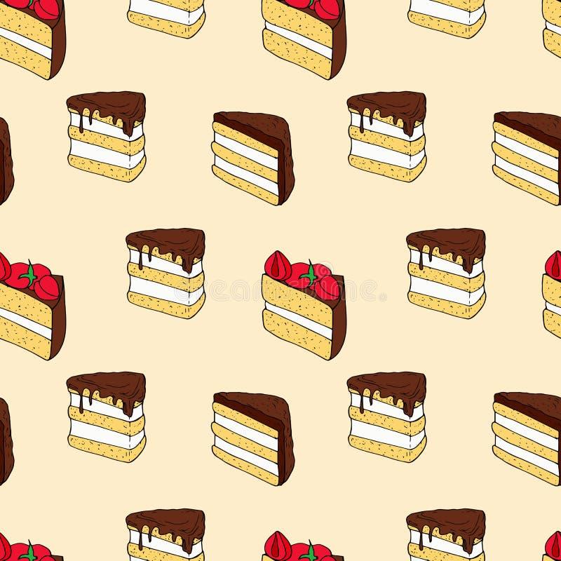Modèle sans couture de vecteur des gâteaux sur le fond rose illustration de vecteur