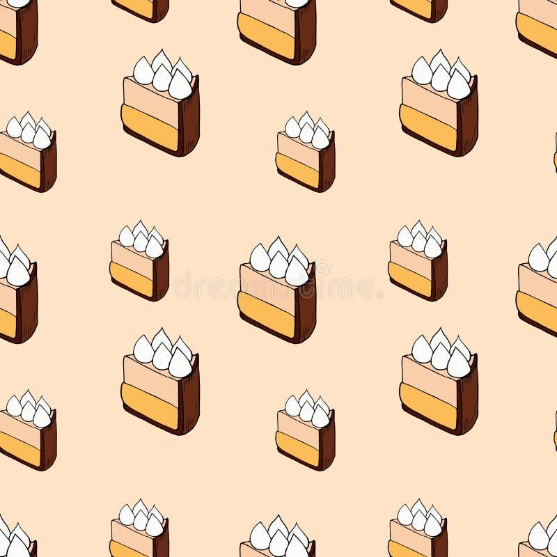 Modèle sans couture de vecteur des gâteaux sur le fond rose illustration stock