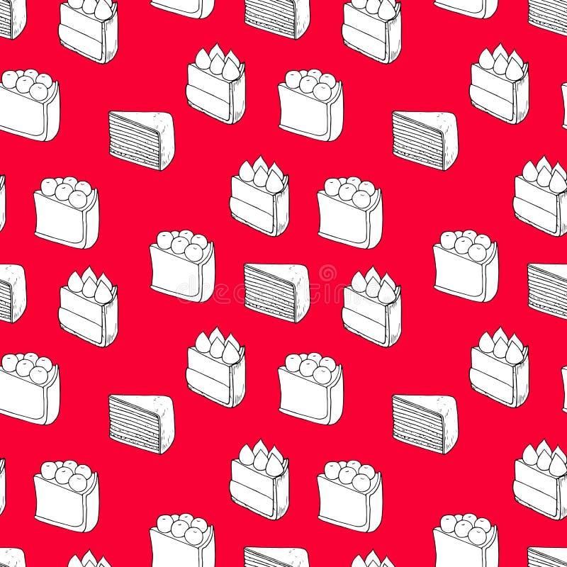 Modèle sans couture de vecteur des gâteaux sur le fond rouge illustration stock