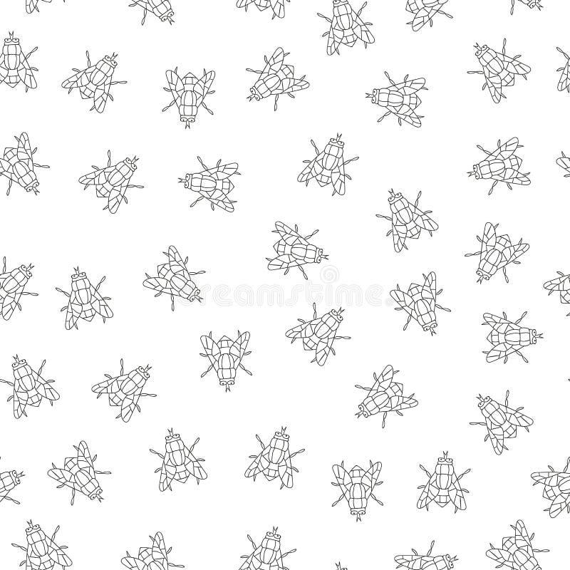 Mod?le sans couture de vecteur des insectes noirs et blancs illustration stock