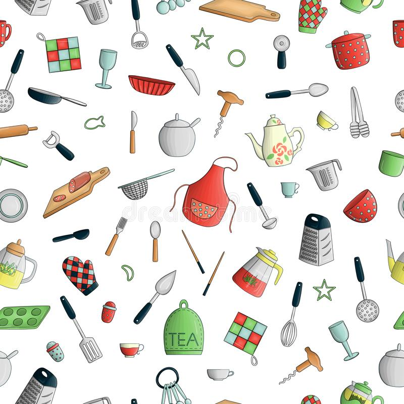 Modèle sans couture de vecteur des outils colorés de cuisine Répétez le fond avec les couverts colorés d'isolement, spatule, illustration de vecteur