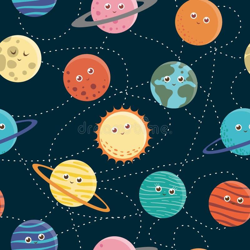Modèle sans couture de vecteur des planètes pour des enfants illustration de vecteur