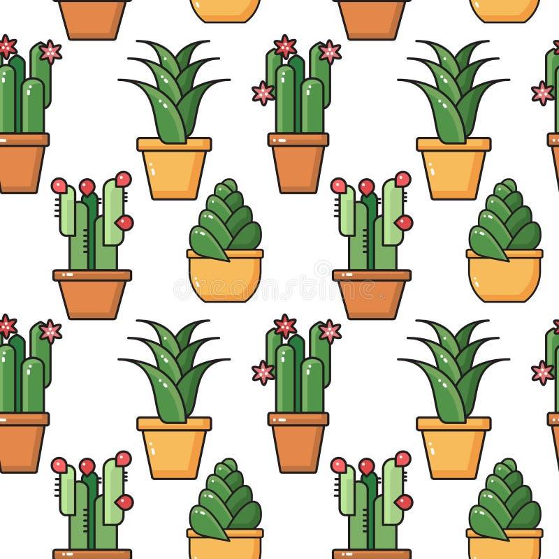 Modèle sans couture de vecteur des plantes d'intérieur dans des pots en céramique illustration libre de droits
