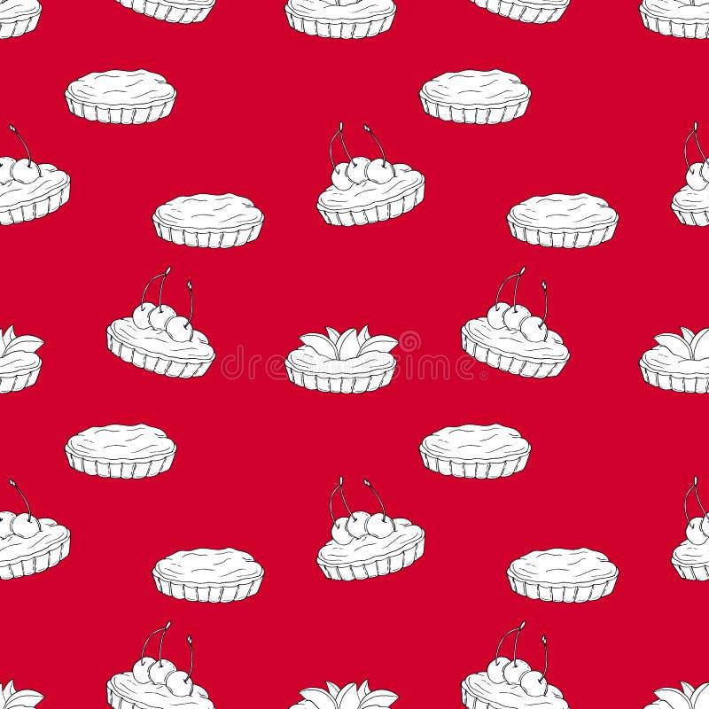 Modèle sans couture de vecteur des tartelettes sur le fond rouge illustration stock