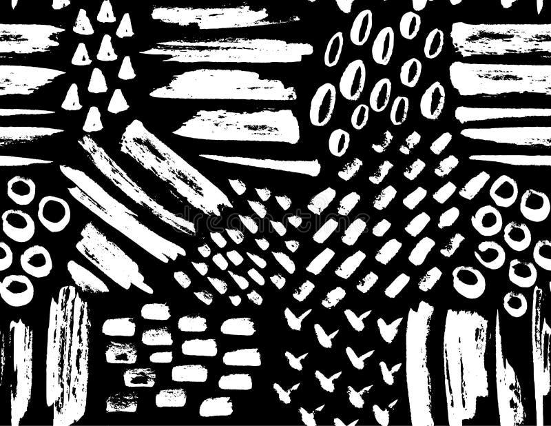 Modèle sans couture de vecteur des textures peintes d'encre Ensemble de courses tirées par la main illustration stock