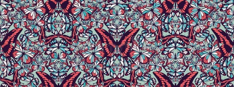 Modèle sans couture de vecteur, de divers papillons colorés, composant une copie naturelle à la mode de mosaïque pour le luxe illustration de vecteur