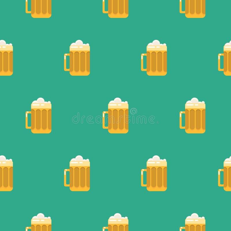 Modèle sans couture de vecteur en verre de bière illustration stock