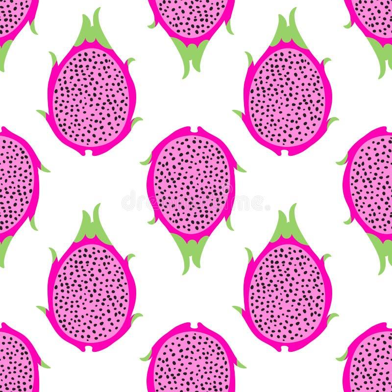 Modèle sans couture de vecteur exotique tropical de fruit du dragon Fond avec le pitaya pour le tissu de conception illustration de vecteur