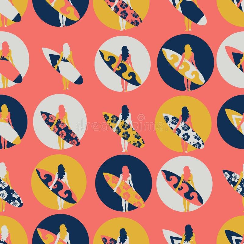 Modèle sans couture de vecteur de fille de surfer Femme avec l'illustration de planche de surf en cercles sur le fond de corail V illustration de vecteur