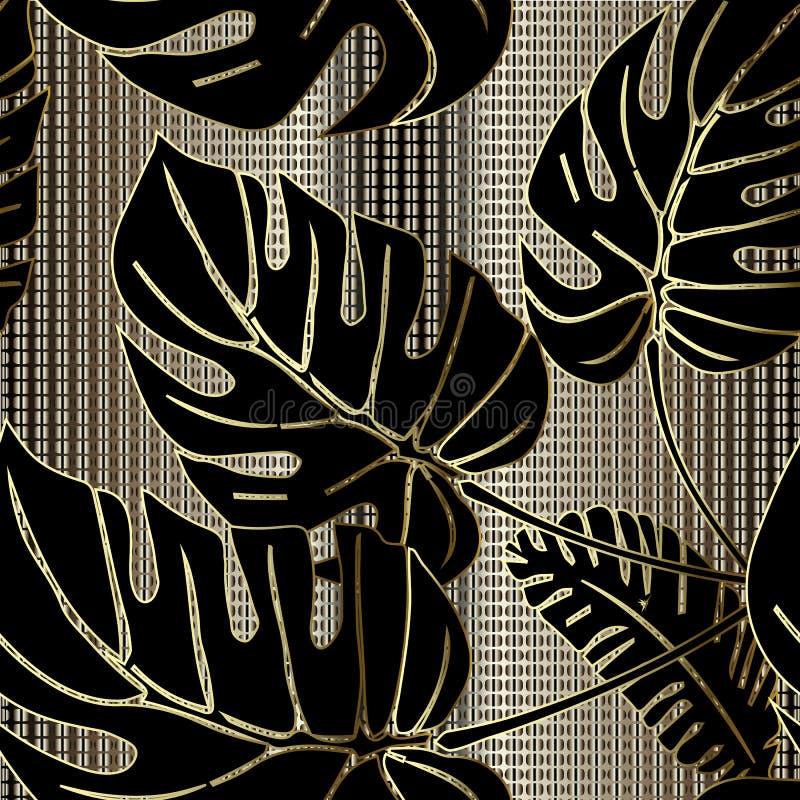 Modèle sans couture de vecteur fleuri de palmettes Fond 3d texturisé d'or de trellis ornemental de grille Répétition florale déco illustration de vecteur