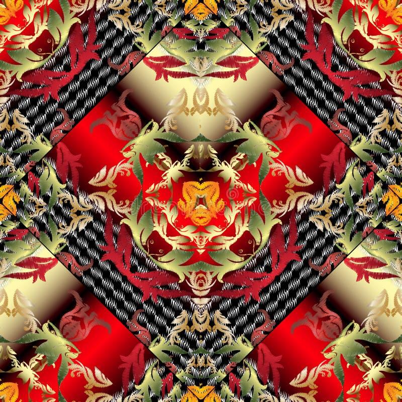 Modèle sans couture de vecteur floral baroque de la broderie 3d Ornement tiré par la main de grunge feuillu de damassé Fond rouge illustration stock
