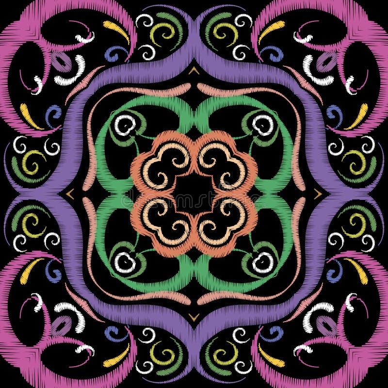 Modèle sans couture de vecteur floral d'arabesque de broderie ornemental illustration de vecteur
