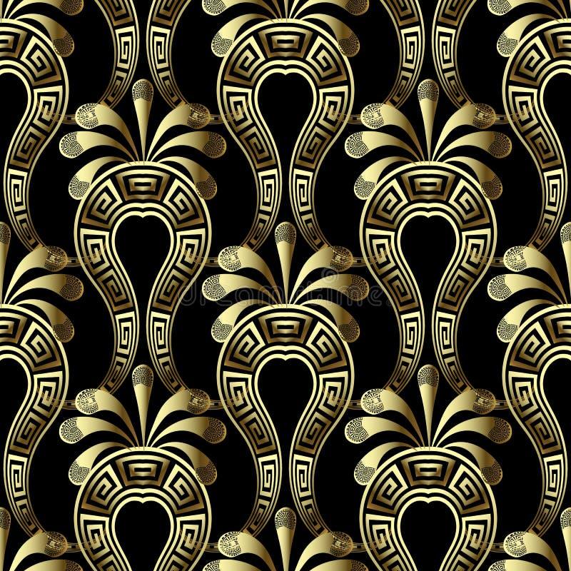 Modèle sans couture de vecteur floral du gree 3d d'or Fond ethnique d'arabesque de style avec des fleurs de Paisley Cru principal illustration stock