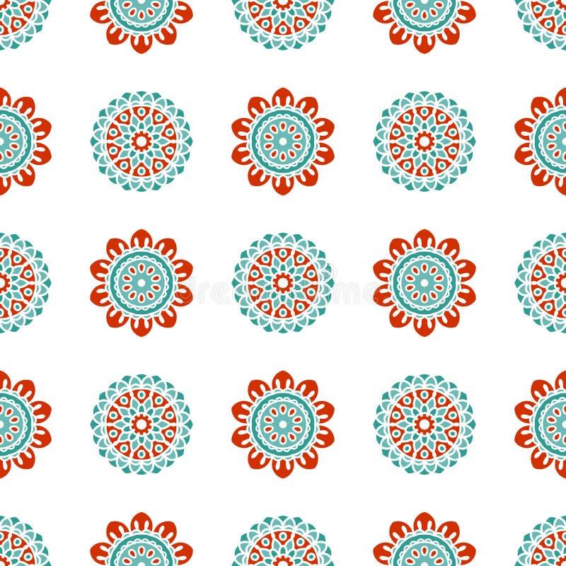 Modèle sans couture de vecteur floral scandinave Fond géométrique nordique illustration stock