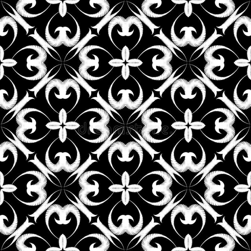 Modèle sans couture de vecteur floral texturisé de broderie Fond ornemental grunge de tapisserie Contexte noir et blanc de répéti illustration libre de droits