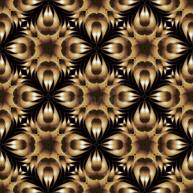 Modèle sans couture de vecteur floral texturisé de broderie Ornement floral de tapisserie extérieure Fond grunge Résumé brodé illustration de vecteur