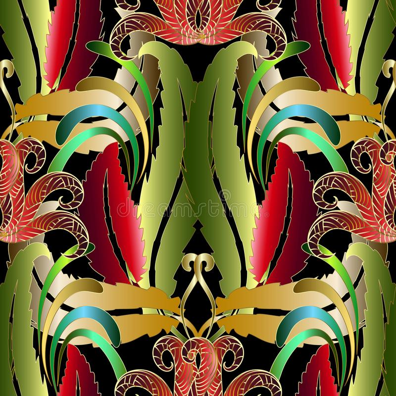 Modèle sans couture de vecteur floral tropical exotique Abstrac coloré illustration stock