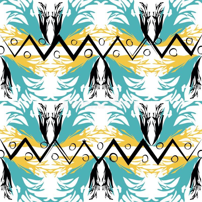 Modèle sans couture de vecteur géométrique ethnique tribal aztèque de style Conception ornementale de zigzag sur le fond blanc Ré illustration stock