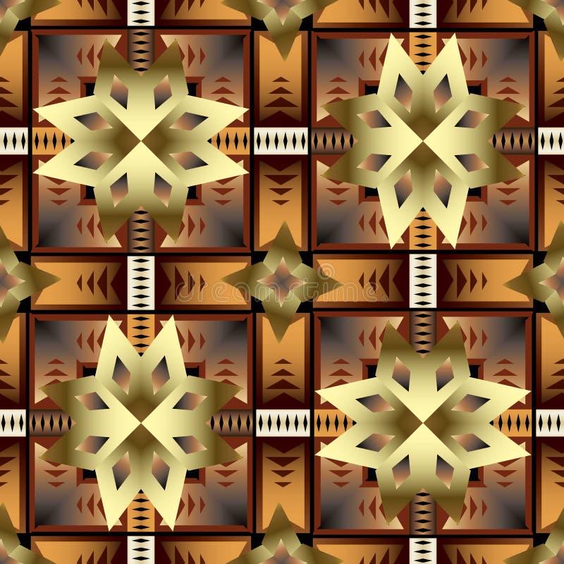 Modèle sans couture de vecteur géométrique ethnique tribal indigène de style Ornement ornemental moderne de formes de la géométri illustration libre de droits