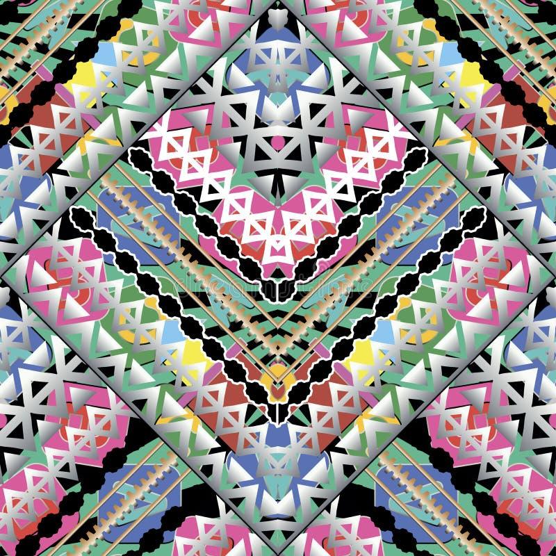 Modèle sans couture de vecteur géométrique lumineux coloré Type ethnique illustration stock