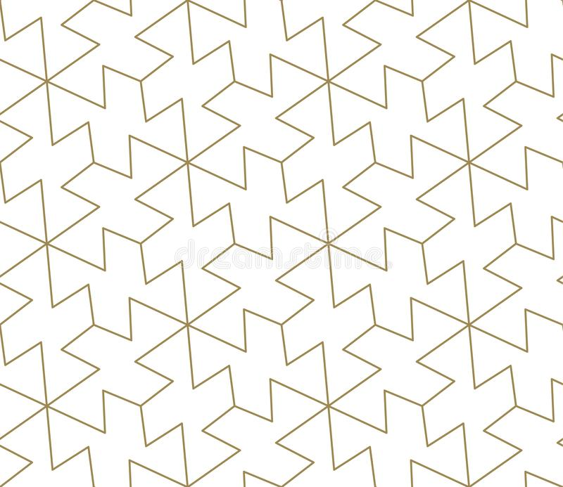Modèle sans couture de vecteur géométrique simple moderne avec la ligne texture d'or sur le fond blanc Papier peint abstrait lége illustration stock