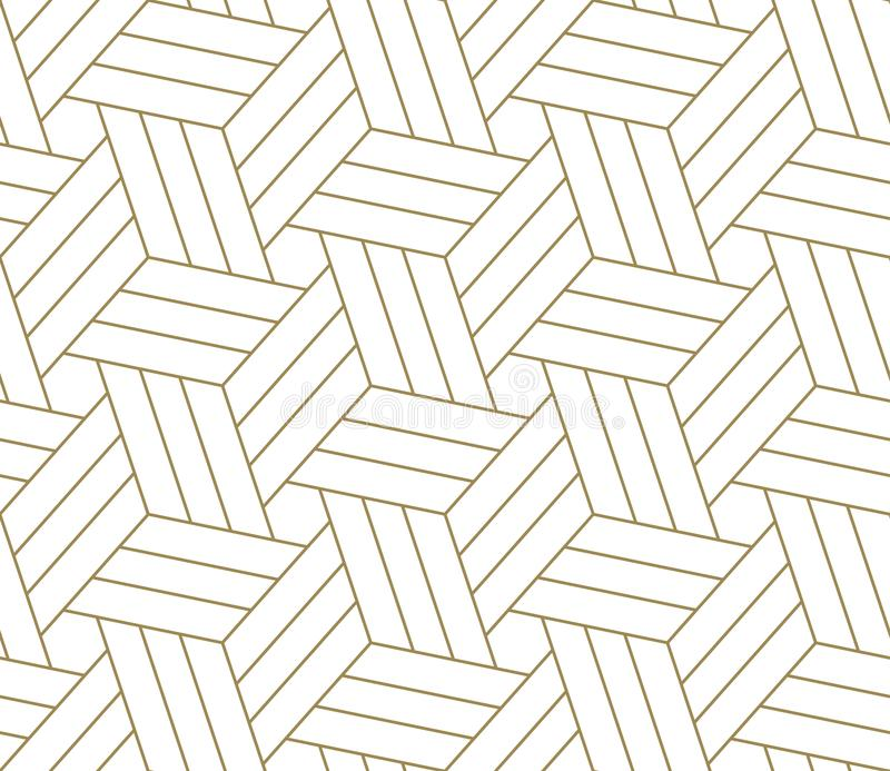 Modèle sans couture de vecteur géométrique simple moderne avec la ligne texture d'or sur le fond blanc Papier peint abstrait lége illustration libre de droits
