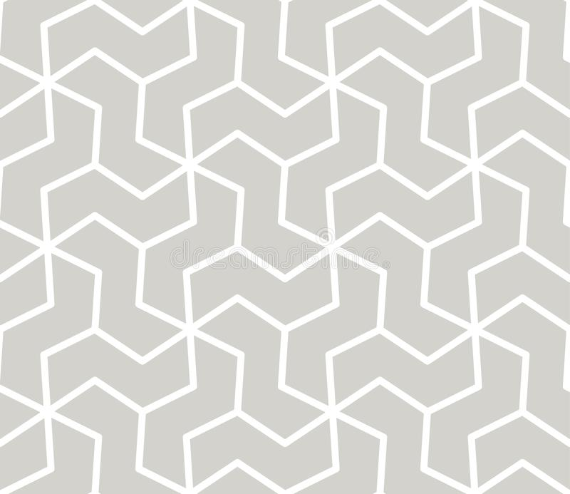 Modèle sans couture de vecteur géométrique simple de résumé avec la ligne blanche texture sur le fond gris Moderne gris-clair illustration de vecteur