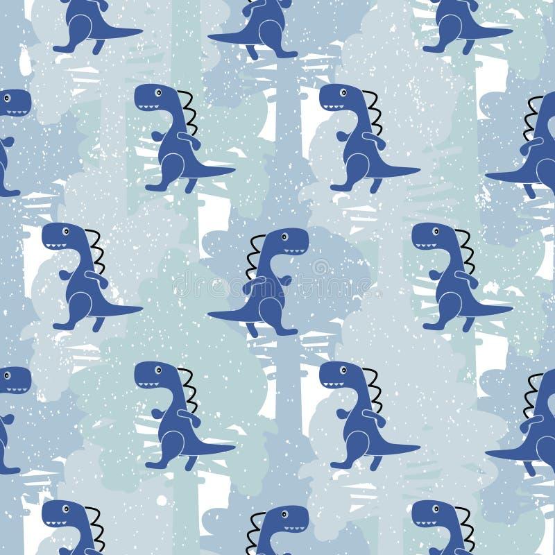 Modèle sans couture de vecteur de garçon bleu de couleur de Dino illustration stock