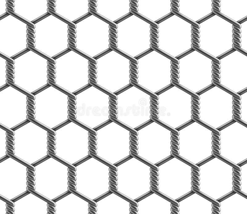 Modèle sans couture de vecteur de grande barrière renforcée hexagonale de maillon de chaîne de cellules illustration libre de droits