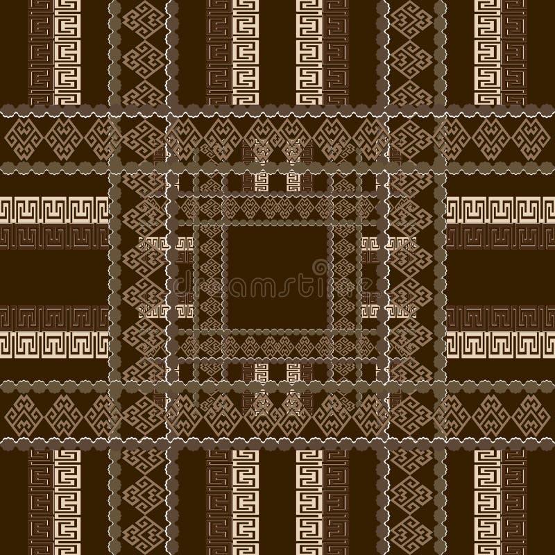 Modèle sans couture de vecteur grec à carreaux géométrique Fond rayé de tartan moderne de plaid Contexte de places de répétition  illustration libre de droits