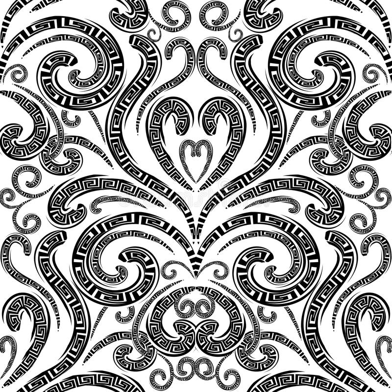 Modèle sans couture de vecteur grec floral Noir et blanc monochrome illustration stock