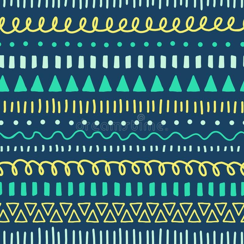 Modèle sans couture de vecteur de griffonnages tribals Fond ethnique de style blanc, bleu, jaune, sarcelle d'hiver Courses tirées illustration de vecteur