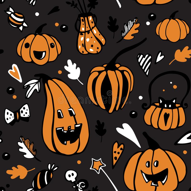 Modèle sans couture de vecteur de Halloween avec différents potirons oranges sur le fond foncé illustration stock