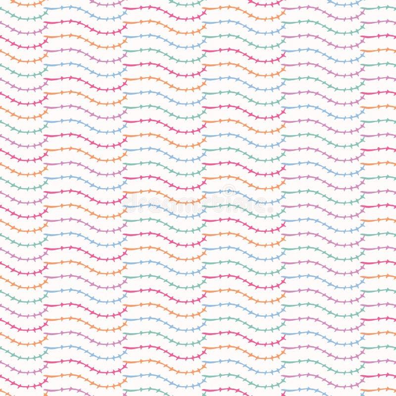 Modèle sans couture de vecteur de jolie de feuille rayure de tige Lignes incurvées abstraites tirées par la main illustration libre de droits