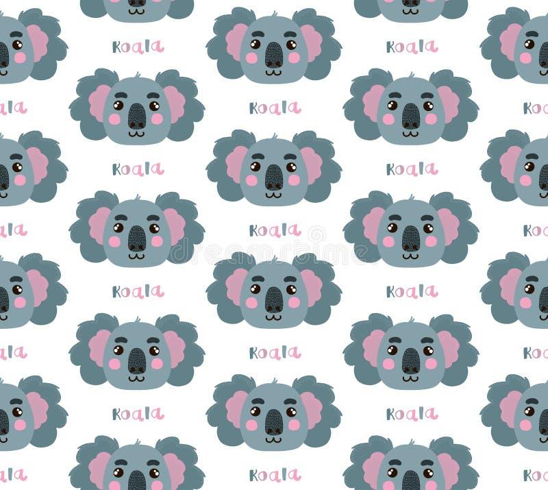 Modèle sans couture de vecteur de koala illustration stock