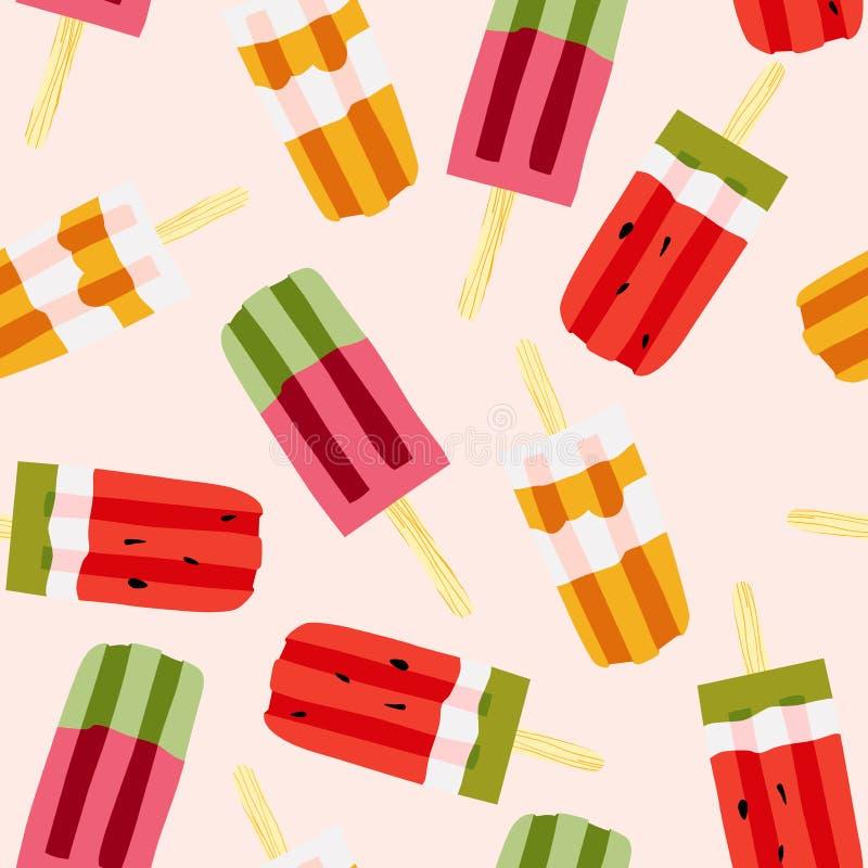 Modèle sans couture de vecteur lumineux de crème glacée  Glaces à l'eau de pastèque et de caramel illustration de vecteur