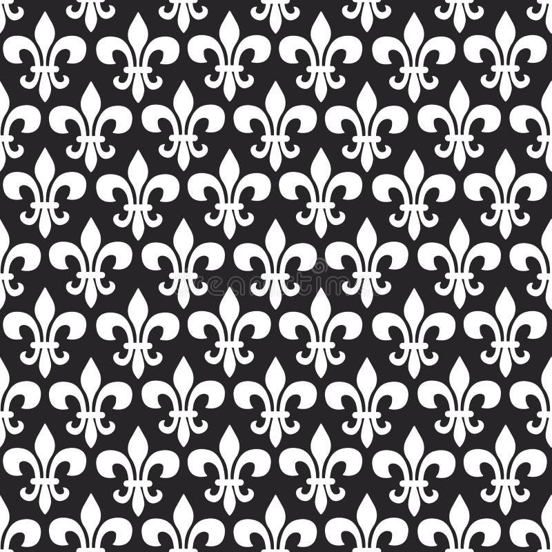 Modèle sans couture de vecteur de Mardi Gras avec la fleur de lis Couleurs noires et blanches illustration libre de droits