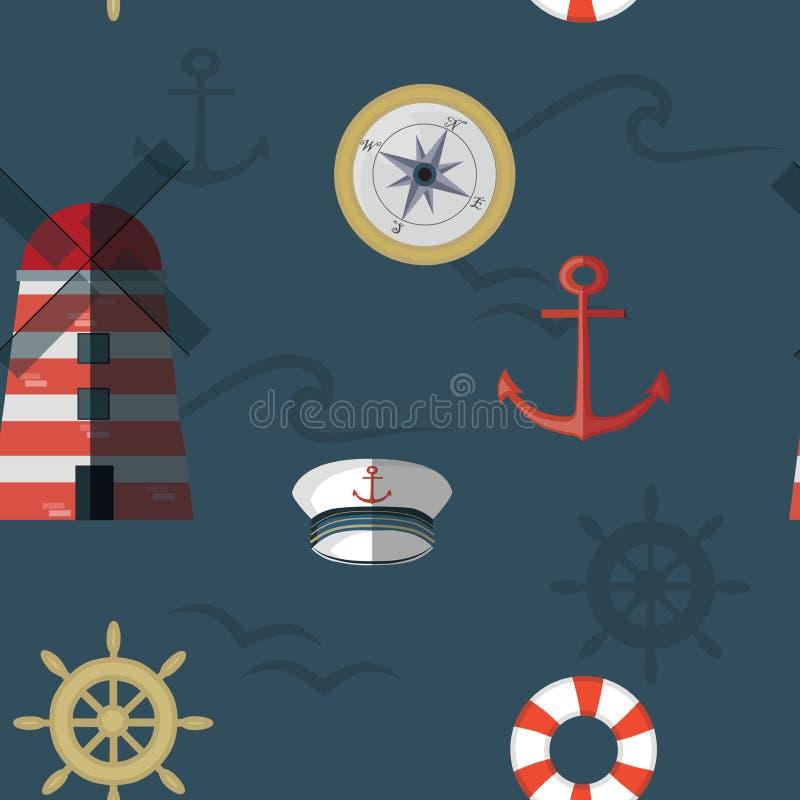 Modèle sans couture de vecteur de marine dans bleu, blanc, rouge illustration stock