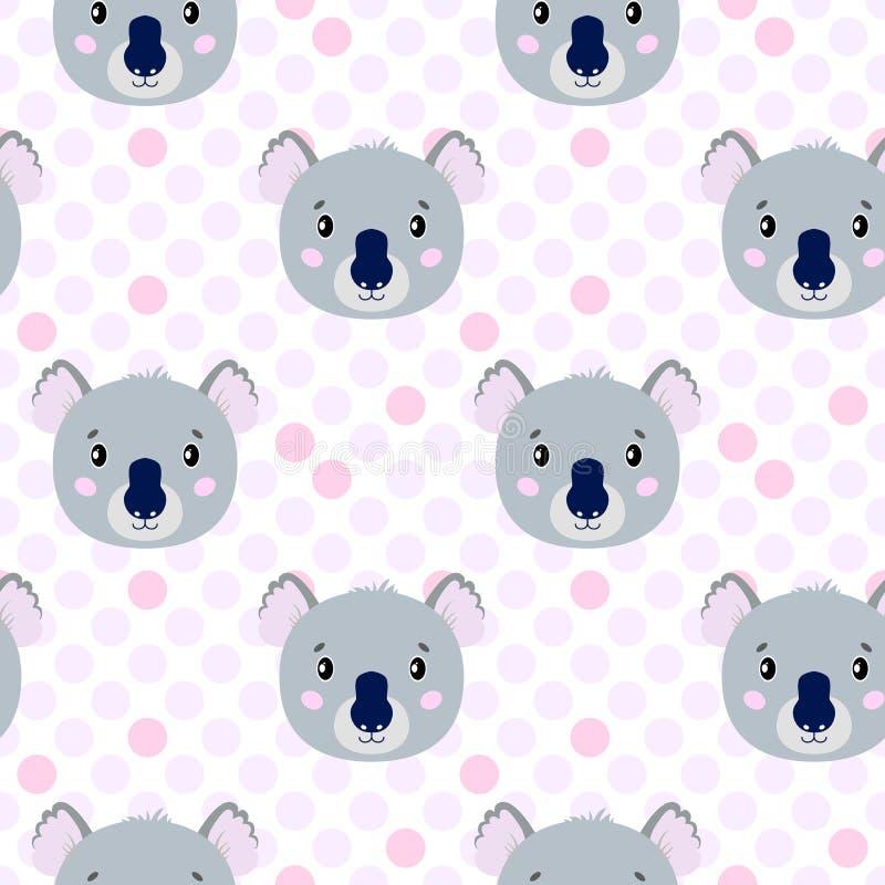 Modèle sans couture de vecteur mignon avec le visage de koala, lièvre Sur le fond blanc dans des points de polka illustration stock