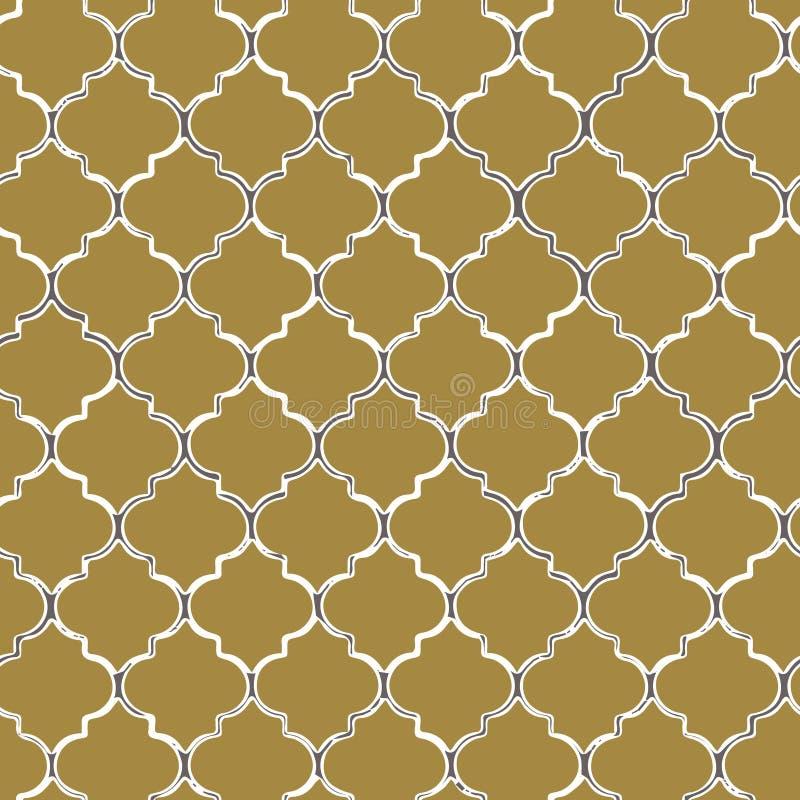 Modèle sans couture de vecteur de mozaic jaune tuiles inspirées par marocain illustration stock